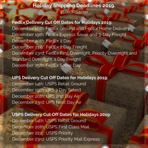 Holiday Shipping Deadlines 2019 Graphic - Elite OPS